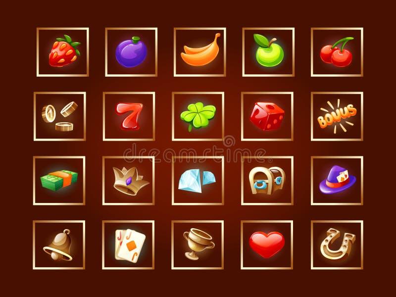 Установка значков для интерфейса игры Значки казино для игровых автоматов иллюстрация вектора