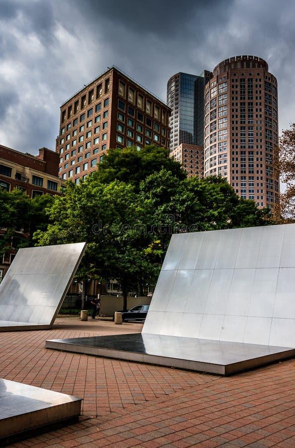 Установка и здания искусства в Бостоне, Массачусетсе стоковая фотография