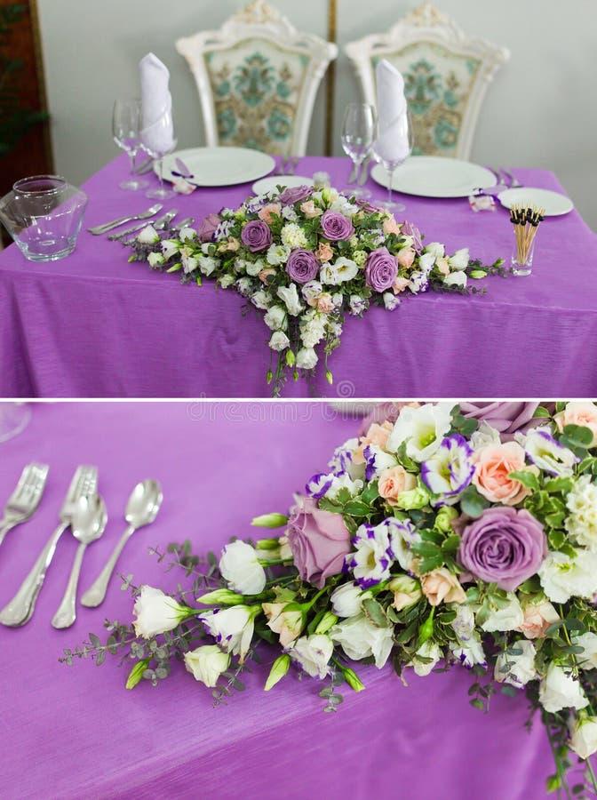 Установка и цветки таблицы декора венчания стоковая фотография rf