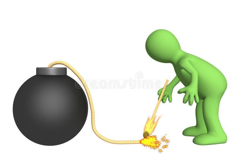 установка марионетки взрывателя пожара bickford 3d бесплатная иллюстрация