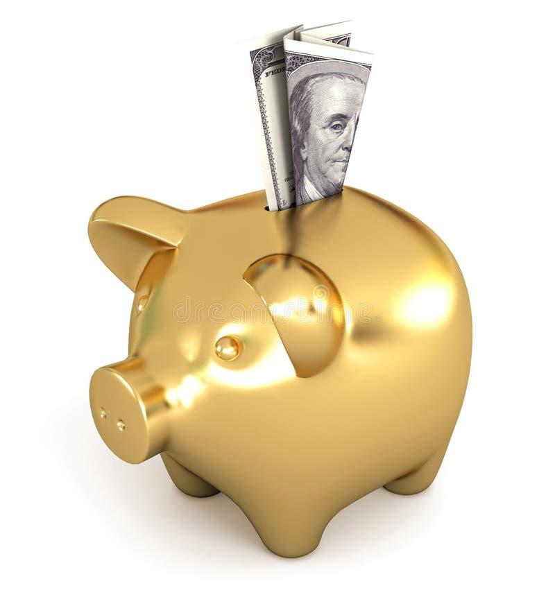 Установка доллара в золотую копилку иллюстрация вектора