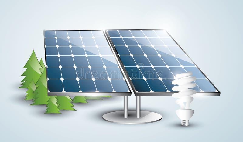 Установка панели солнечных батарей с лампочкой бесплатная иллюстрация