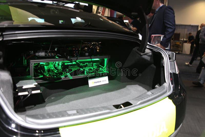 Установка привода NVIDIA в хобот на CES 2019 стоковые фото