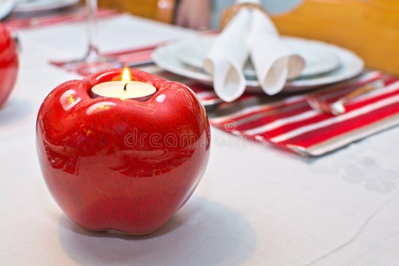 Установка рождества обеденного стола деревенская стоковые фото