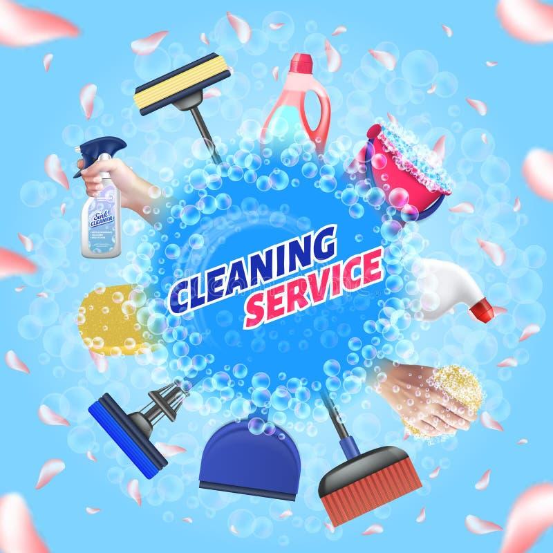 Установка средств очистки Служба очистки логотипов Вектор иллюстрация вектора