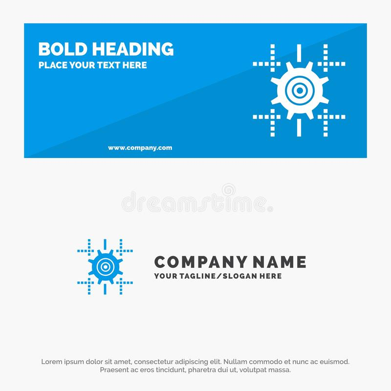 Установка, шестерня, вычислять, линия твердое знамя вебсайта значка и шаблон логотипа дела иллюстрация вектора