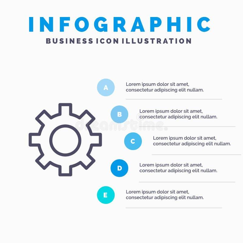 Установка, шестерня, интерфейс, линия потребителя значок с предпосылкой infographics представления 5 шагов бесплатная иллюстрация