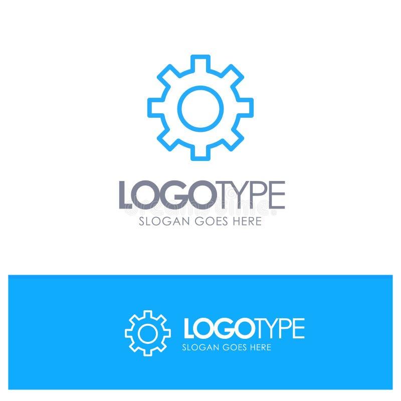 Установка, шестерня, интерфейс, место логотипа плана потребителя голубое для слогана иллюстрация штока