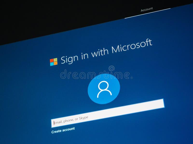 Установка Microsoft Windows 10 pro знак-в стоковое изображение