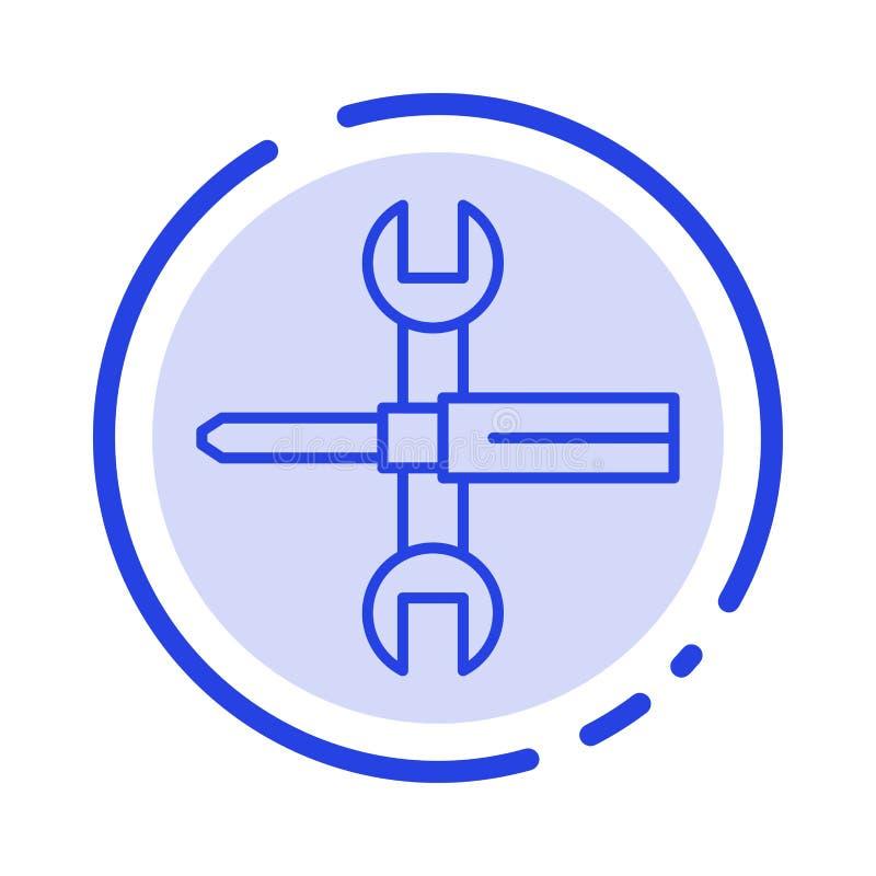 Установки, контроли, отвертка, гаечный ключ, инструменты, линия значок голубой пунктирной линии ключа иллюстрация штока