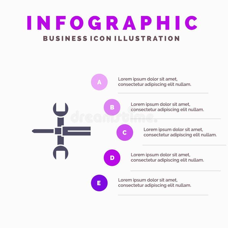 Установки, контроли, отвертка, гаечный ключ, инструменты, предпосылка представления шагов Infographics 5 значка ключа твердая иллюстрация штока