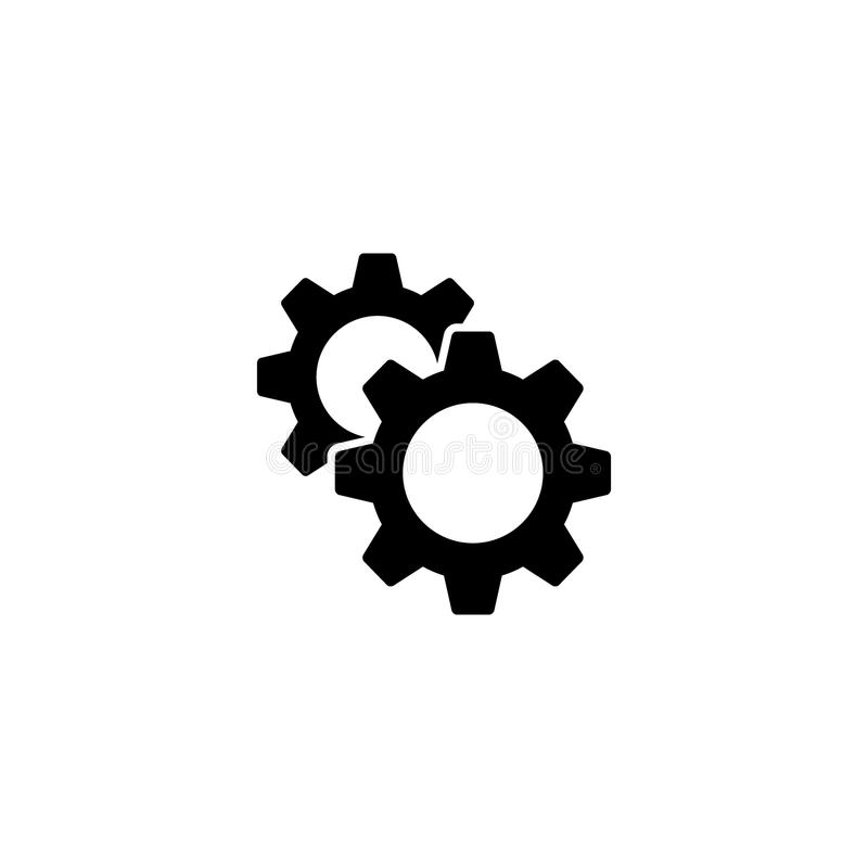 2 установки cogwheels и настроенного значок Зацепляет значок сети обслуживания иллюстрация вектора