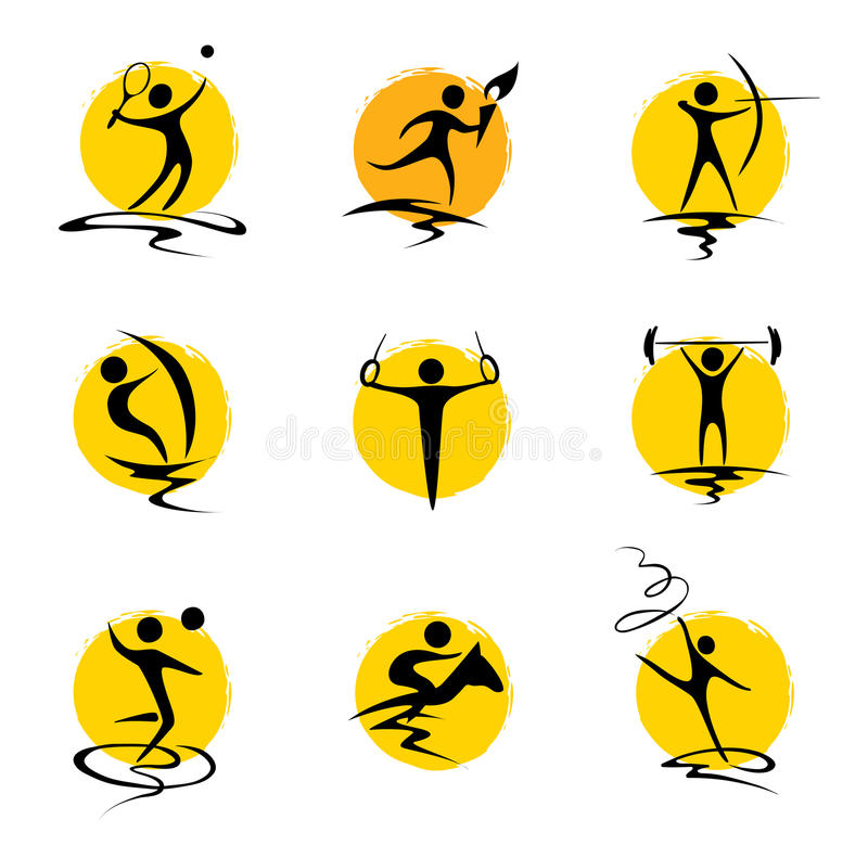 Установленная абстрактная иллюстрация - спорты лета иллюстрация вектора