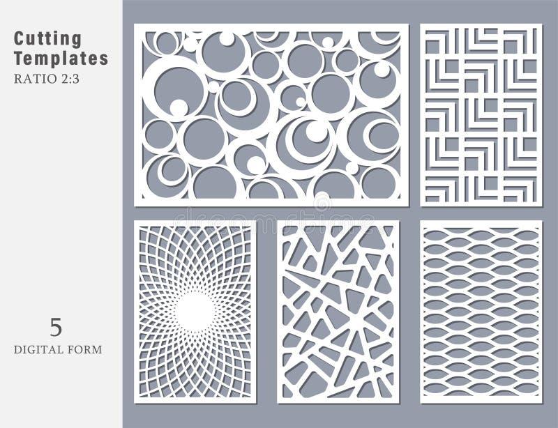 Установленная декоративная карточка для резать Абстрактное геометрическое линейное иллюстрация вектора