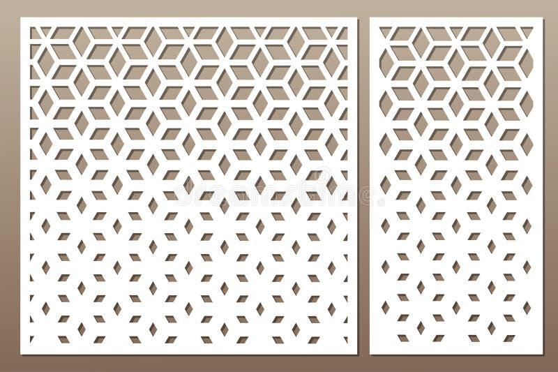Установленная декоративная карточка для резать сделайте по образцу квадрат Отрезок лазера Rati иллюстрация вектора