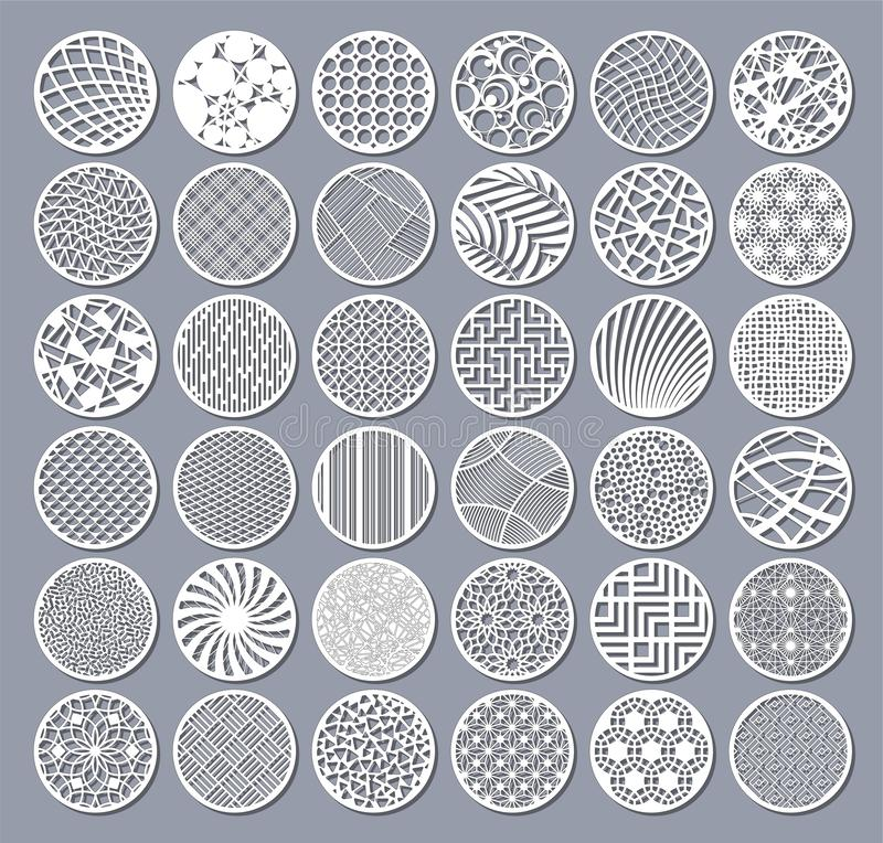 Установленная декоративная карточка круга для резать Круглая абстрактная геометрическая линейная картина Отрезок лазера также век иллюстрация вектора