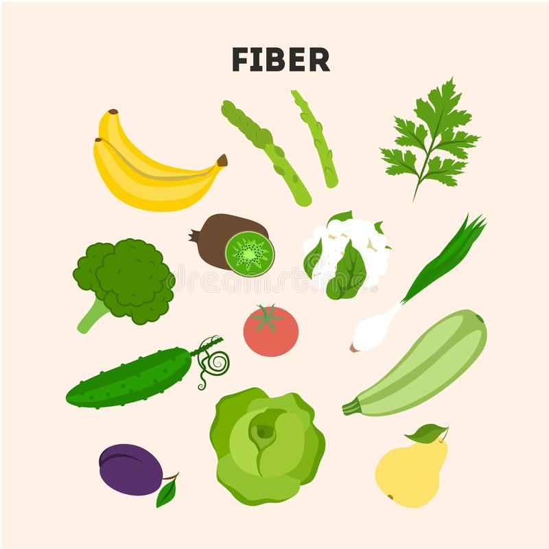 Установленная еда волокна иллюстрация штока