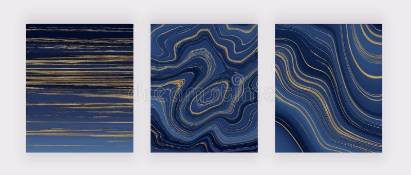 Установленная жидкостная мраморная текстура Голубая и золотая картина конспекта картины чернил яркого блеска Ультрамодные предпос стоковые изображения rf