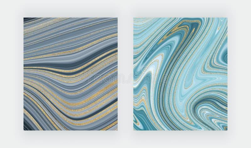 Установленная жидкостная мраморная текстура Голубая и золотая картина конспекта картины чернил яркого блеска Ультрамодные предпос стоковое фото