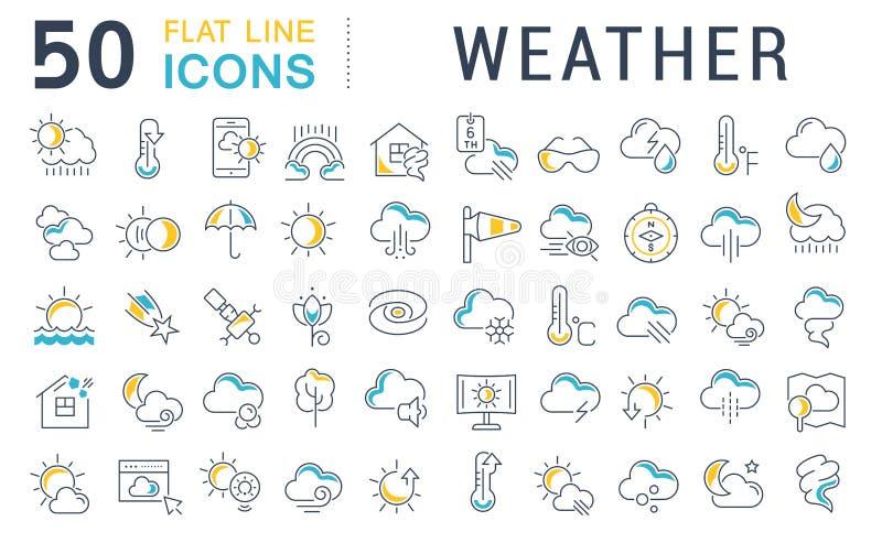Установленная линия значки вектора погоды иллюстрация вектора