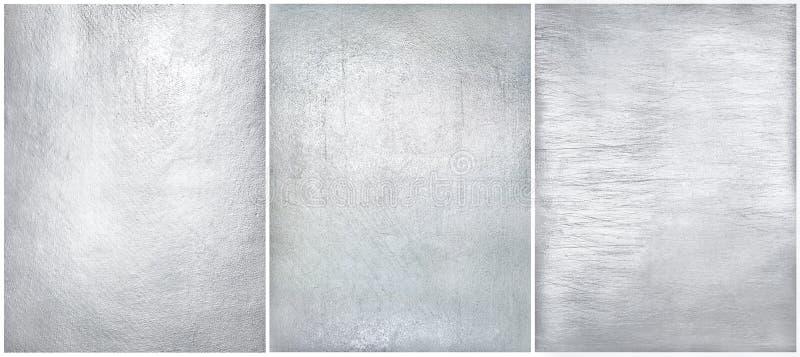 Установленная несенная металлопластинчатая стальная предпосылка Фольга текстуры серебряная стоковая фотография