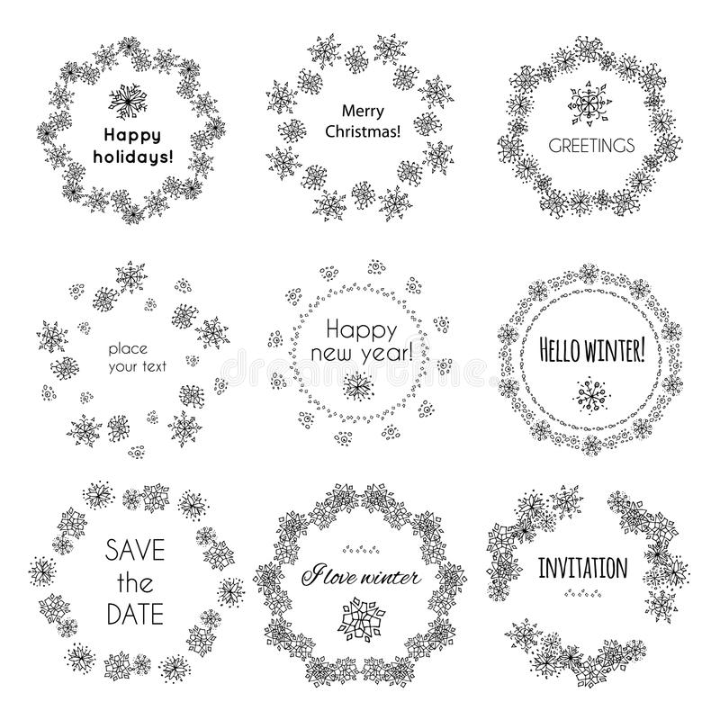 УСТАНОВЛЕННАЯ покрашенная вручную декоративная рамка Снежинки венков бесплатная иллюстрация