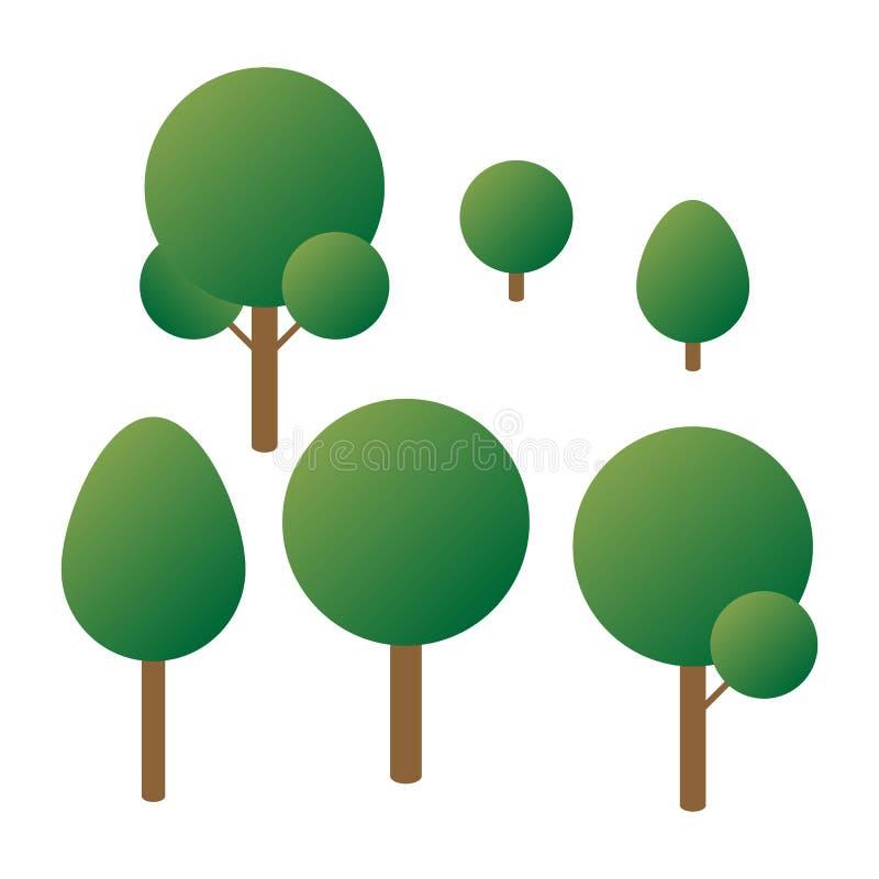 Установленная равновеликая предпосылка леса 3d деревьев белая Изолированная иллюстрация вектора Значки вектора равновеликие для р иллюстрация вектора