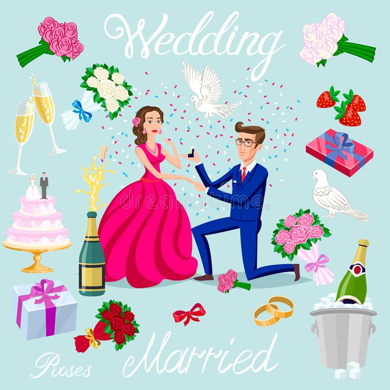 Установленная свадьба вектора как раз женатые пары с характерами воплощений сердец кольца подарков голубей новобрачных торта шамп бесплатная иллюстрация