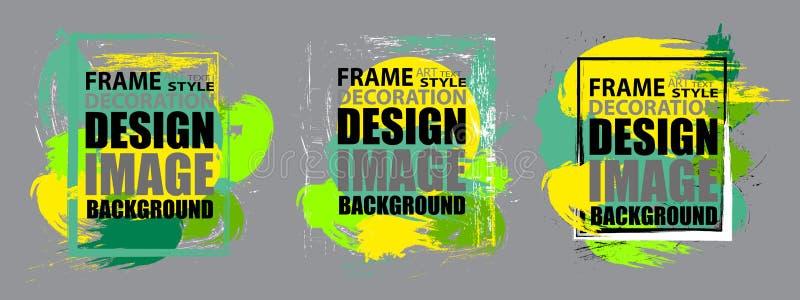 Установленная современная рамка для текста Динамические геометрические красочные элементы дизайна для рогульки, визитных карточек иллюстрация вектора