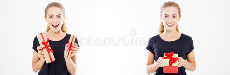 Установленная счастливая женщина держа подарочные коробки на белых предпосылке, коллаже праздника, знамени или афише стоковая фотография rf