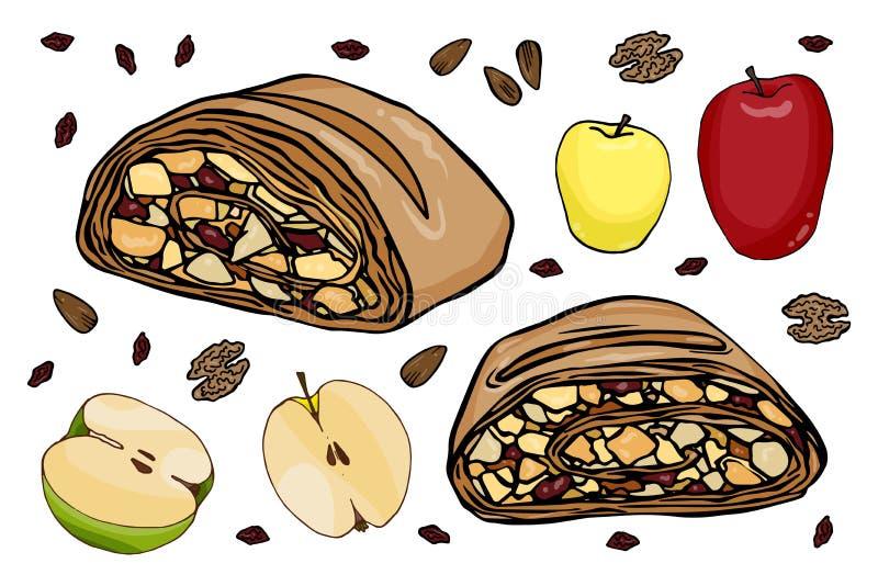 Установленная штрудель яблока бесплатная иллюстрация