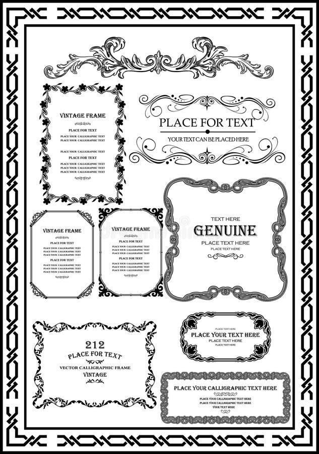 Установленное декоративное винтажное изображение цвета черноты рамки очень хорошо бесплатная иллюстрация