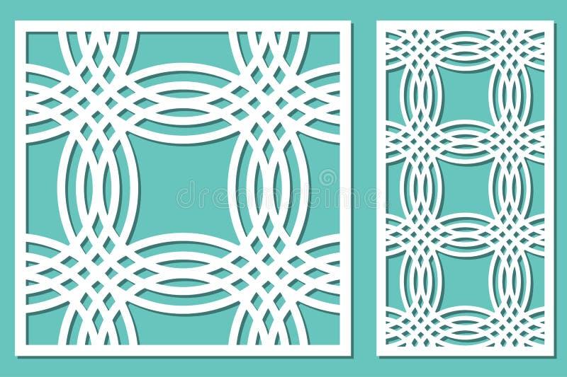 Установленное декоративное вырезывание лазера панели сбор винограда панели чертежа предпосылки деревянный иллюстрация штока
