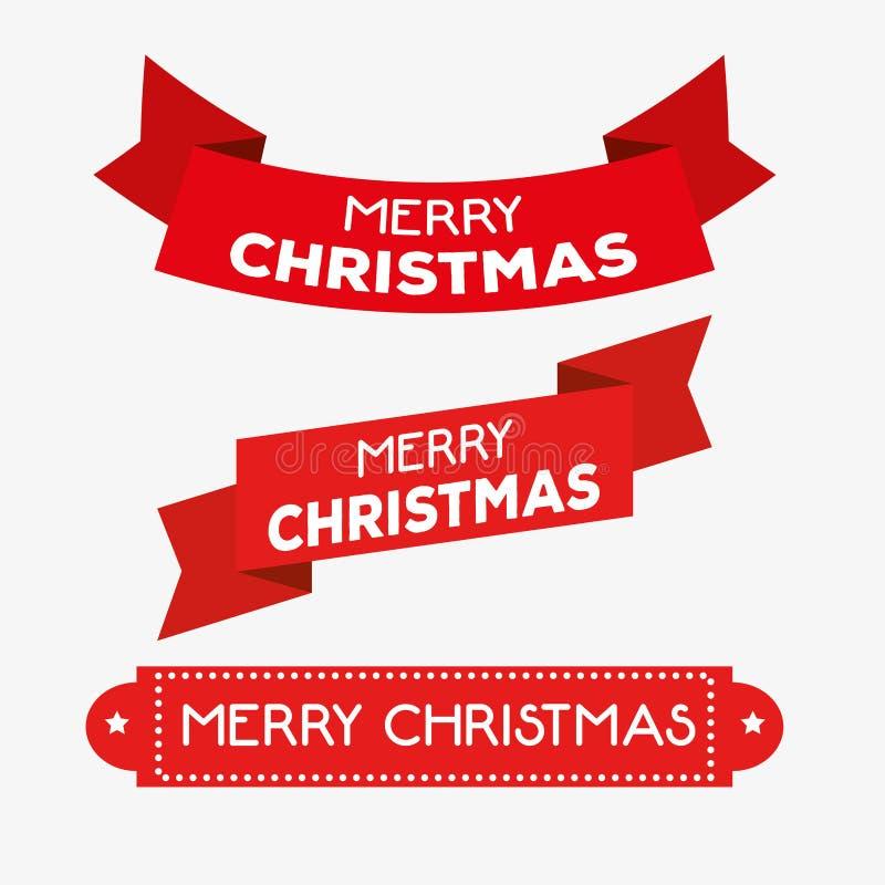 Установленное красное украшение ленты к веселому рождеству иллюстрация вектора