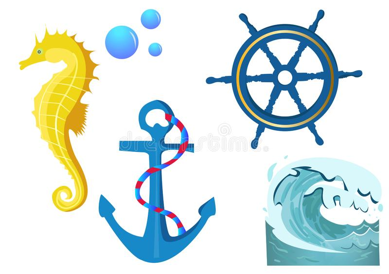 Установленное приключение моря E Иллюстрация гравировки года сбора винограда цвета вектора Для яхт-клуба плаката иллюстрация штока
