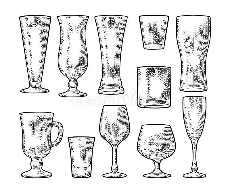 Установленное пустое стеклянное пиво, виски, вино, джин, ром, текила, шампанское, коктеиль бесплатная иллюстрация