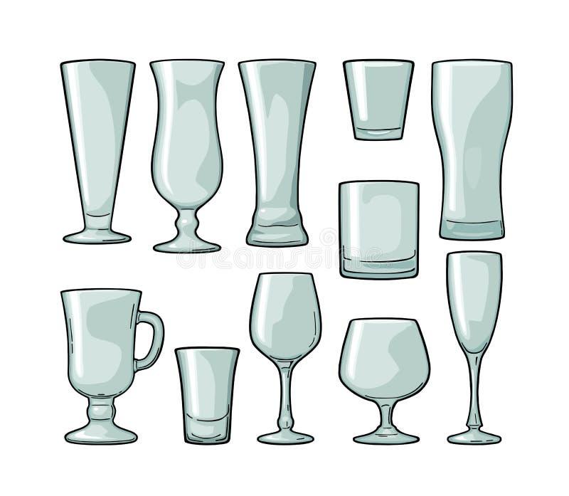 Установленное пустое стеклянное пиво, виски, вино, джин, ром, текила, шампанское, коктеиль иллюстрация штока