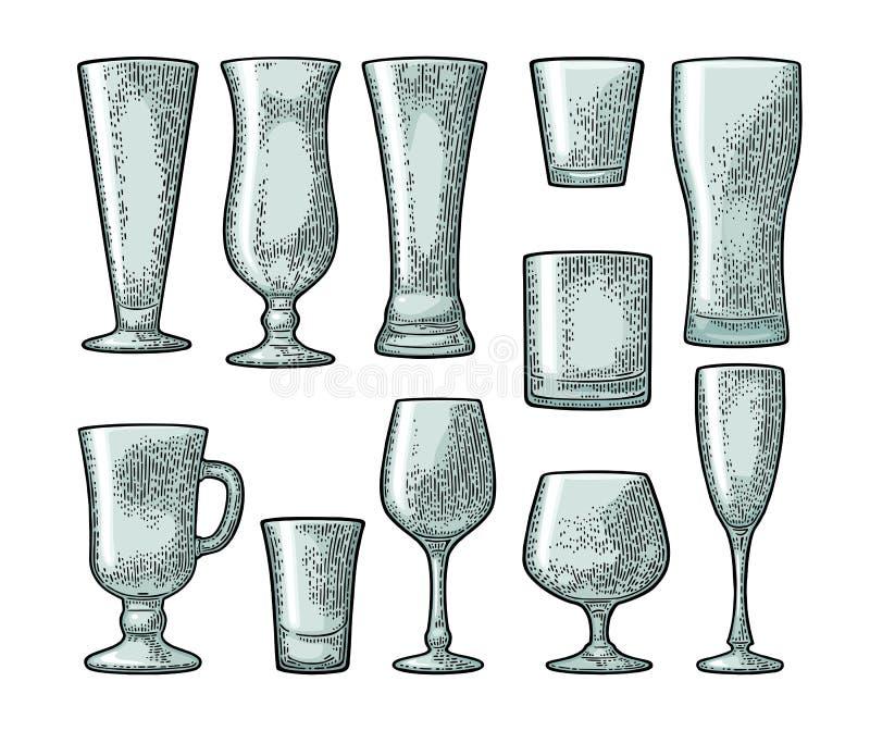 Установленное пустое стеклянное пиво, виски, вино, джин, ром, текила, шампанское, коктеиль иллюстрация вектора