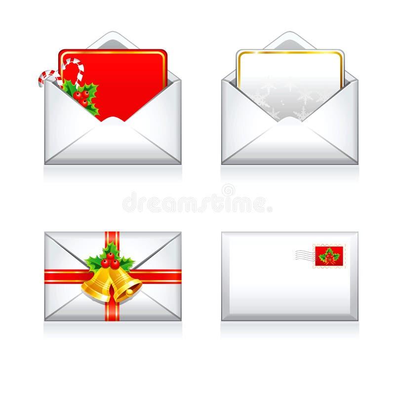 Установленное рождество и счастливые значки электронной почты писем вектора Нового Года стоковые фотографии rf