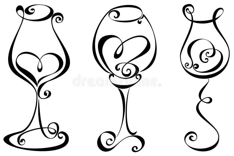 Установленное стилизованное стекло вина иллюстрация вектора