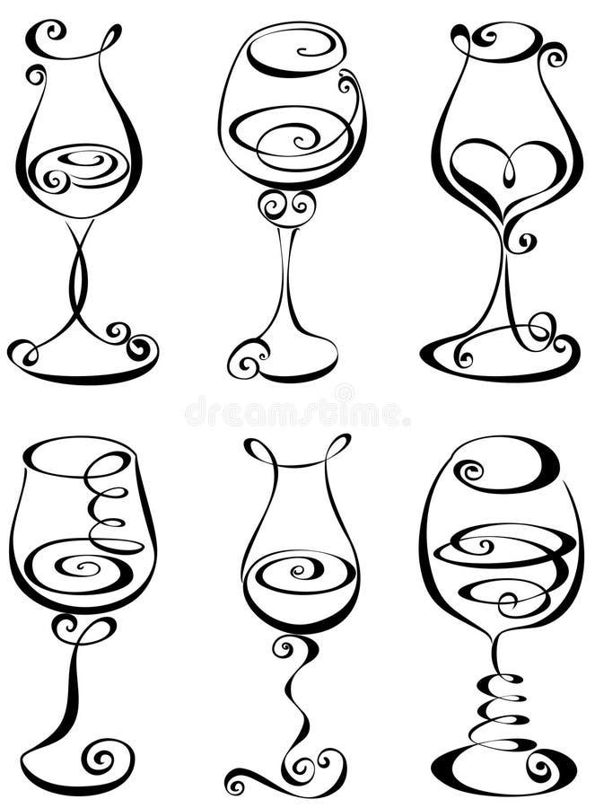 Установленное стилизованное стекло вина иллюстрация штока