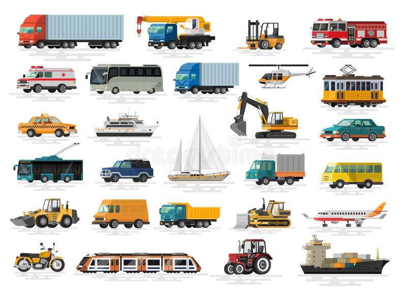 Установленные автомобили городского, города и значки вектора перехода кораблей плоские иллюстрация вектора