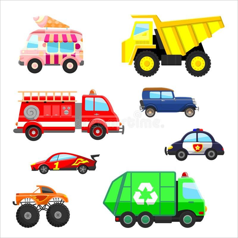Установленные автомобили и тележки бесплатная иллюстрация