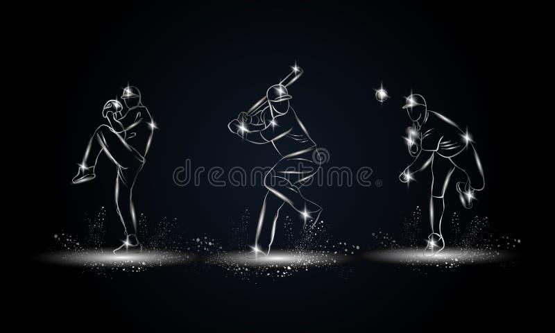 Установленные бейсболисты Металлическая линейная иллюстрация бейсболиста для знамени спорта, предпосылки иллюстрация вектора