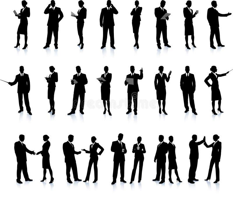 установленные бизнесмены silhouette супер иллюстрация вектора