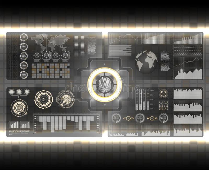 Установленные блоки развертки проверки Развертка пальца в футуристическом стиле Биометрический id с футуристическим интерфейсом H иллюстрация вектора