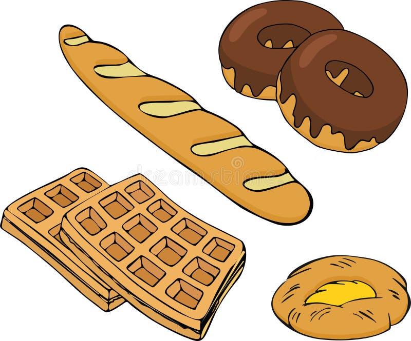 Установленные векторы хлебопекарни Магазин хлебопекарни и собрание хлебобулочных изделий изолировали иллюстрацию вектора бесплатная иллюстрация