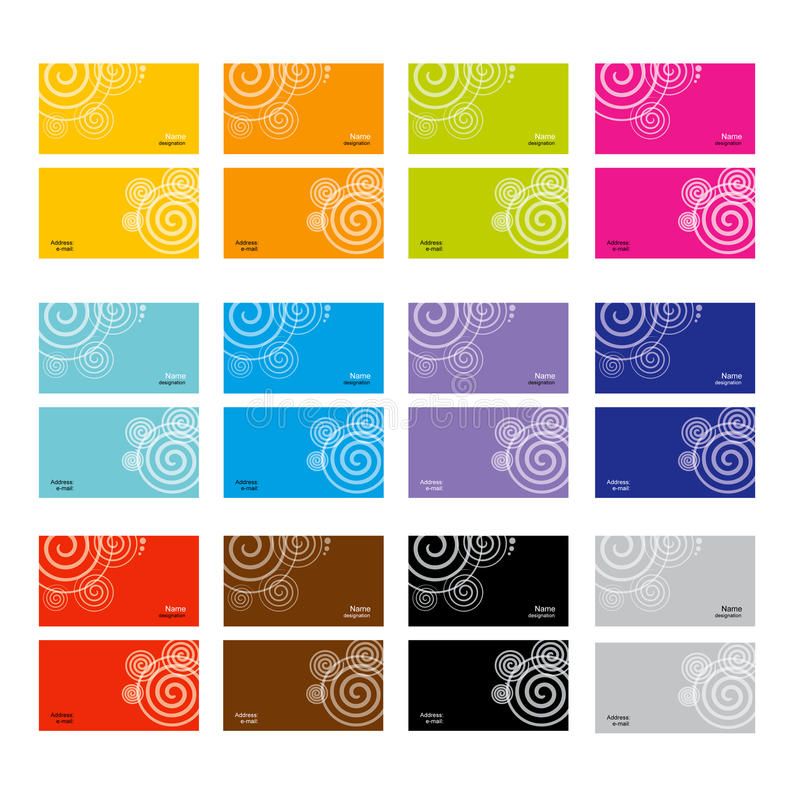 установленные визитные карточки иллюстрация вектора