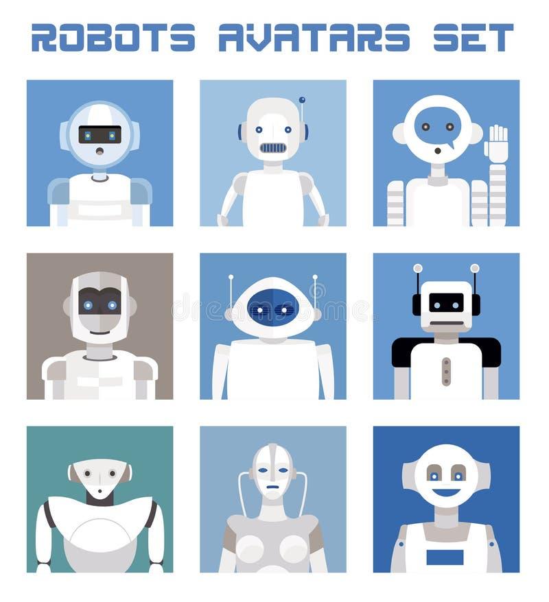 Установленные воплощения роботов иллюстрация вектора