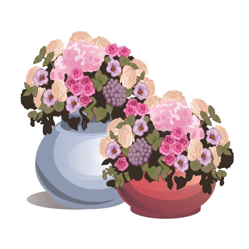 Установленные в горшке цветки изолированные на белой предпосылке Идеи для подарков или дизайна интерьера Конец-вверх шаржа вектор бесплатная иллюстрация